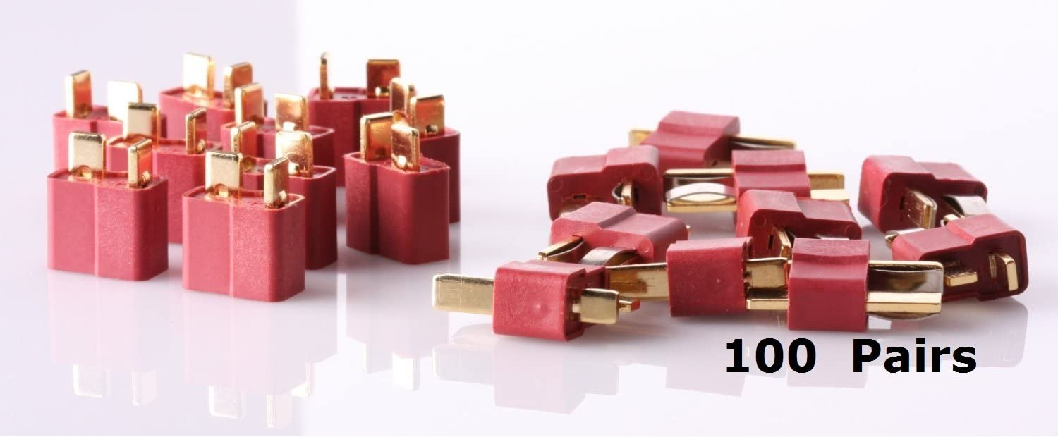 T Plug Connectors Deans Style Male and Female Connectors For RC LiPo Battery ESC Motor 100 Pairs