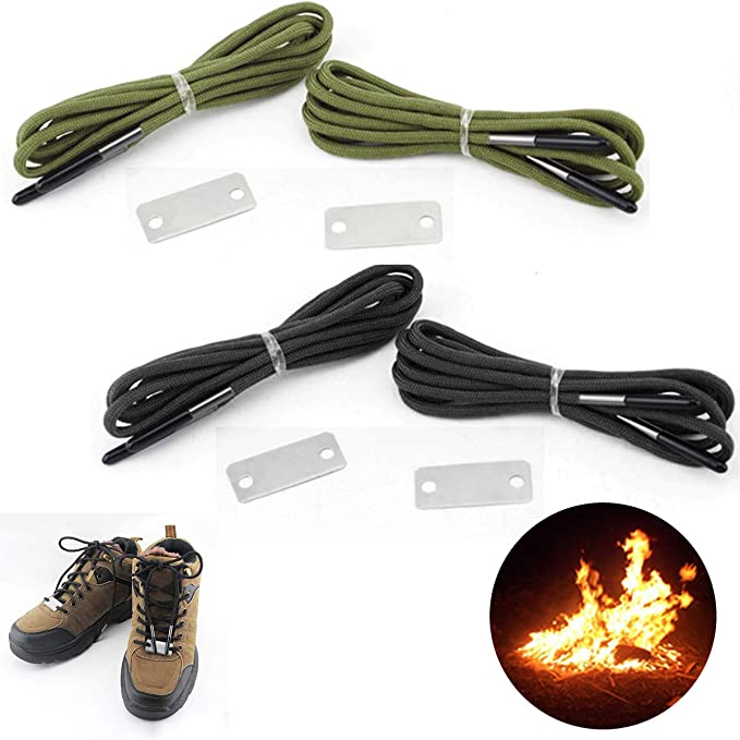 Black Reflective Shoe Laces with Fire Starter 1 Pair Outdoor Multi-Purpose Showlace 51 Boot Lace