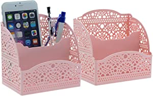 Saim Office Desktop Storage Organizer Plastic Hollow Pattern, Remote Control Cosmetic Phone Pen Pencil Holders 2Pcs(Pink)