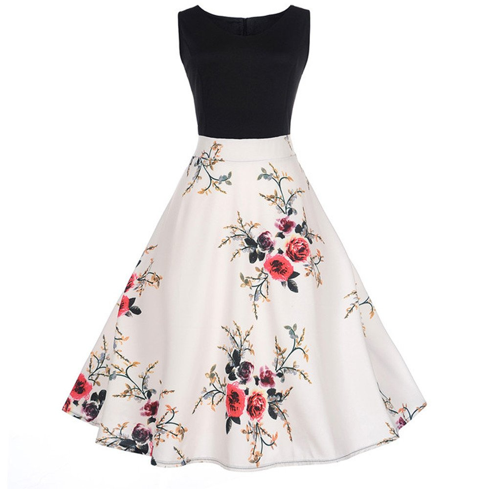 50S 60S Vintage Dresses Sleeveless for Women Print Casual Patchwork Prom Swing Dresses for Summer…