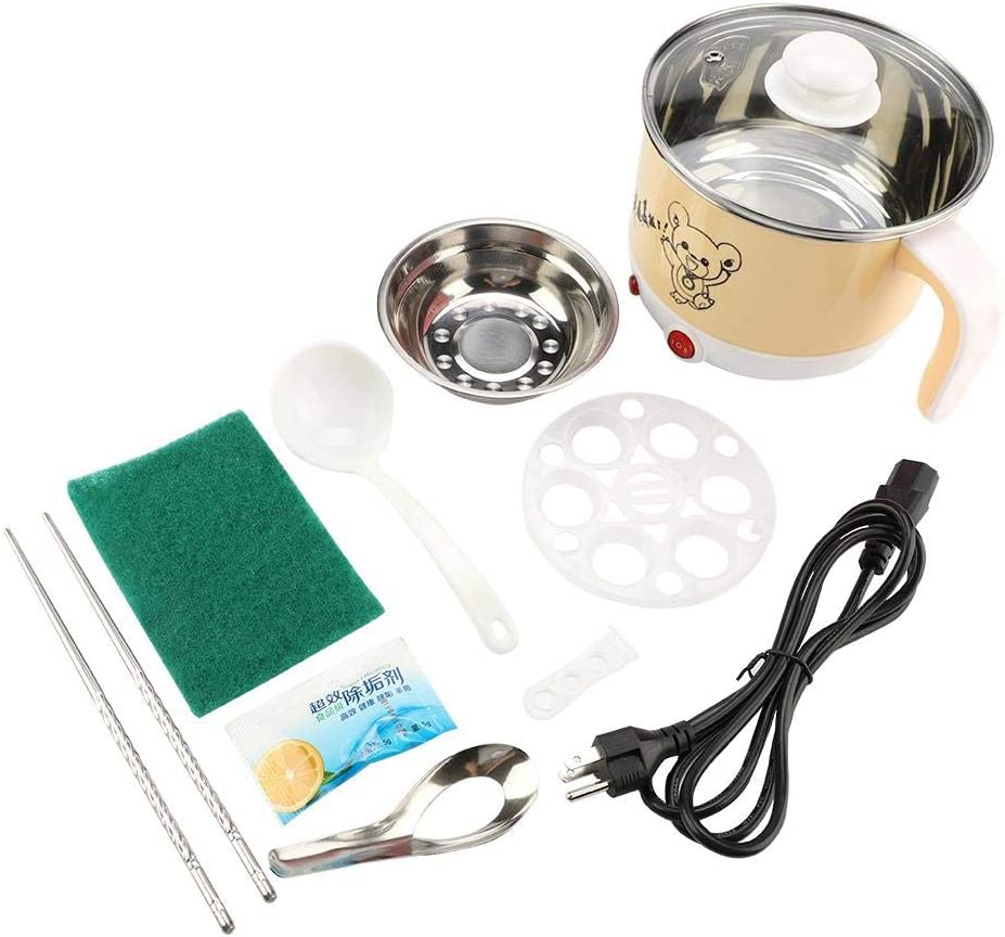 Mini Cooking Pot, 1.8L Mini Stainless Steel Electric Hot Pot Cooking Pot Rapid Noodles Cooker Cook Perfect for Steam, Egg, Soup and Stew 110V US Plug(Khaki)