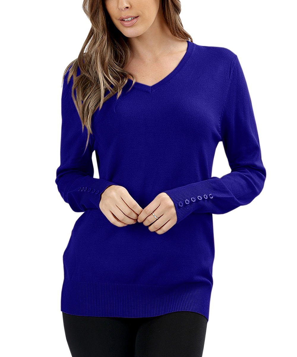 Haloumoning Womens Fall Sweaters V Neck Lightweight Long Sleeve Ribbed Button Plain Pullover Tops