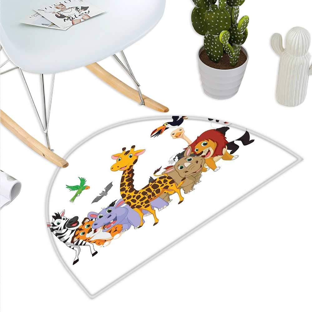 color07 H 27.5\ Kids Semicircle Doormat colorful Jungle Animals Hippo Bat Parred Giraffe Zebra Rhino Panda African Safari Themed Decorations Halfmoon doormats H 27.5  xD 41.3