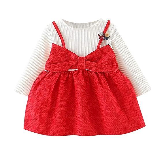 c1b73a349318 Amlaiworld Vestidos de Fiesta niña bebé Vestido de Princesa del Bowknot de  Flores de Manga Larga de niña recién Nacida Ropa Infantil: Amazon.es: Ropa  y ...