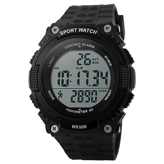 reloj digital de los deportes de los hombres llevó a la pantalla grande de caucho negro cara militar mira el reloj de alarma cronómetro luminosa: Amazon.es: ...