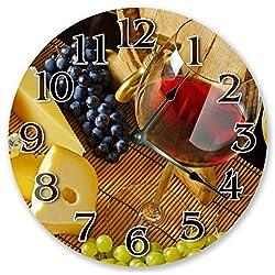 Sugar Vine Art 10.5 WINE CLOCK WITH FRUIT GRAPES - Large 10.5 Wall Clock - Home Decor Clock