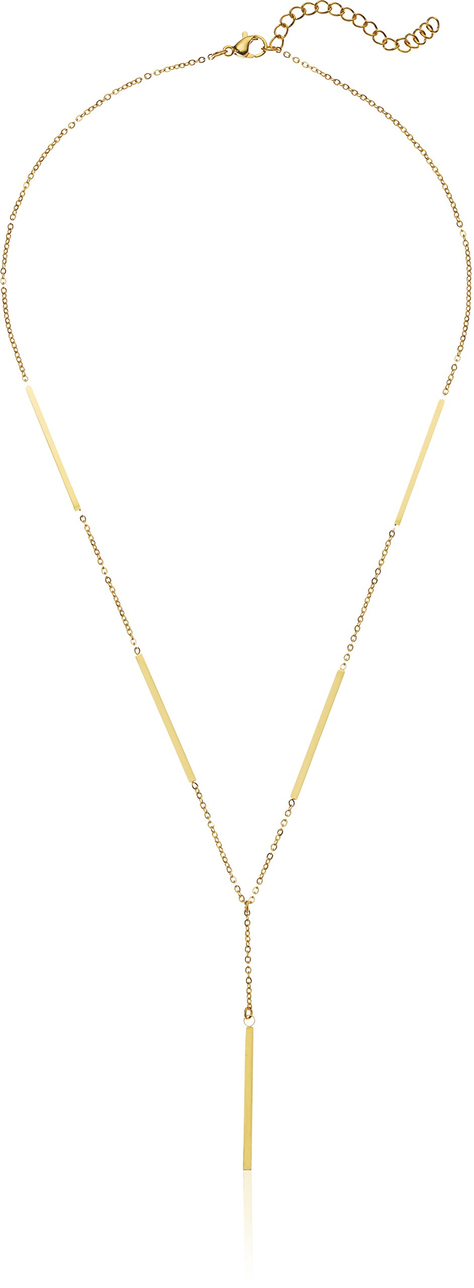 ELYA Jewelry Womens Polished Bar Stainless Steel Y Shaped Necklace, Gold, One Size