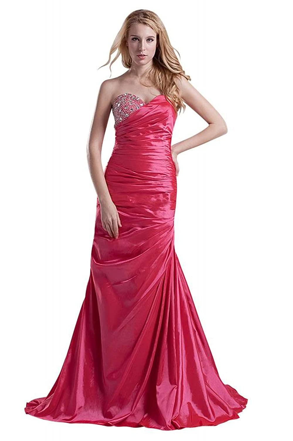 GEORGE BRIDE Taffeta Sweetheart Ruched with Beadings Dress