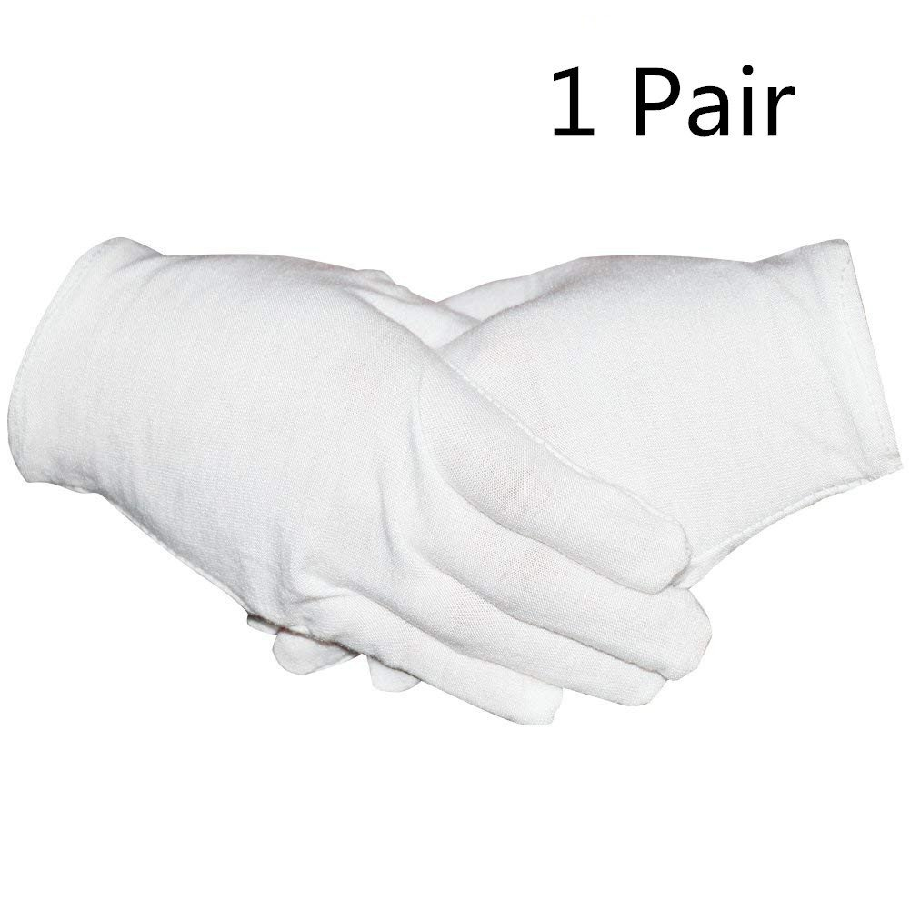 DD GOODS 1Pairs White Cotton Gloves for Cosmetic Moisturizing Coin Jewelry Inspection Hand Spa – Medium Size