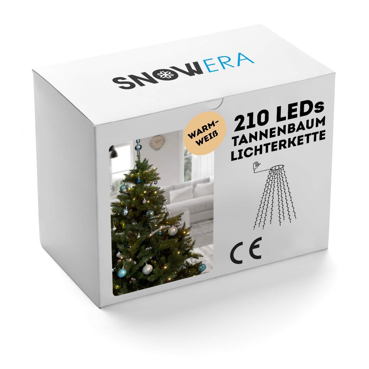 SnowEra 210er LED Weihnachtsbaumlichterkette in warmweiß | Überwurf Lichterkette für innen | Lichterkette mit Timer für Weihnachten - Einfach und schnell dekorieren - 10 Stränge a 21 LEDs je 2, 10 m