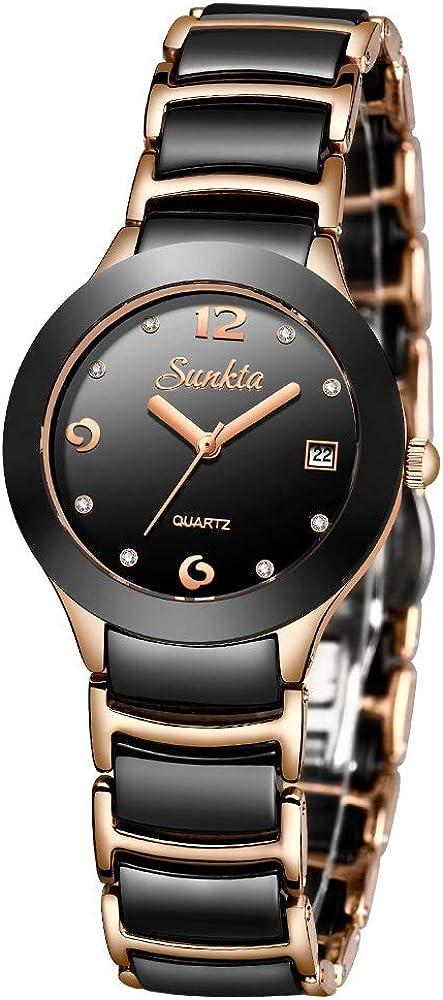 SUNKTA Mujer Impermeable Cuarzo analógico Reloj Acero Inoxidable con Diamante Negro y Oro Rosa Cerámico Pulsera Señoras Reloj de Pulsera