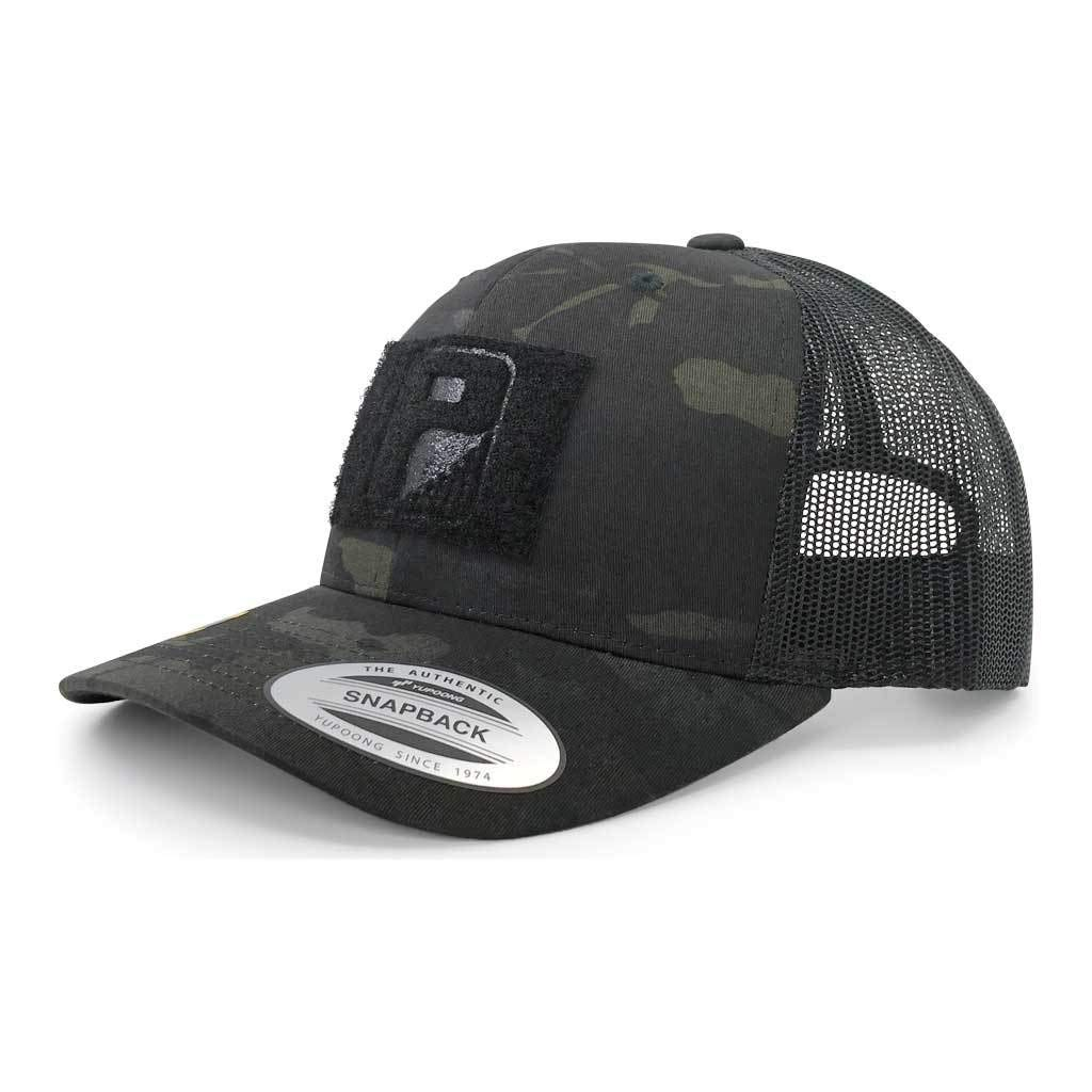 Pull Patch Tactical Hat | Authentic Snapback Multicam Curved Bill Trucker Cap | 2x3 in Hook and Loop Surface to Attach Morale Patches | 6 Panel | Black Camo and Black | Free US Flag Patch Included by Pull Patch