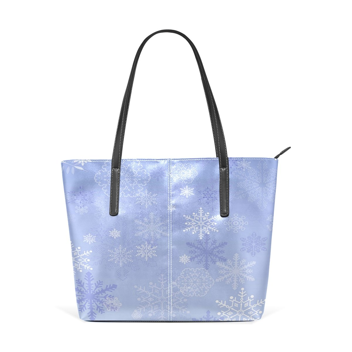 Women Leather Handbags Purple Snowflake Top Handle Shoulder Bags