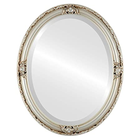 Oval Beveled Wall Mirror for Home Decor – Jefferson Style – Silver – 22×32 outside dimensions