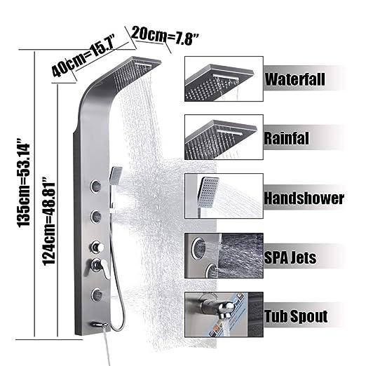 XZ Inicio Baño de níquel cepillado Panel de ducha Torre de la ...