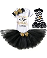 IBTOM CASTLE Baby Girls It's My 1st/2nd Birthday 3/4Pcs Outfits Shinny Printed Romper+Skirt+Headband+(Legging)