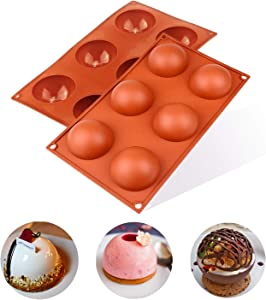 DIOSAVO 2 Pcs 2.75 Inches 6 Ball Circle Food Grade Silicone Mold Holes For Chocolate, Kitchen Bakeware, Round Shape Half Sphere Mold Non-Stick (Brick Red)