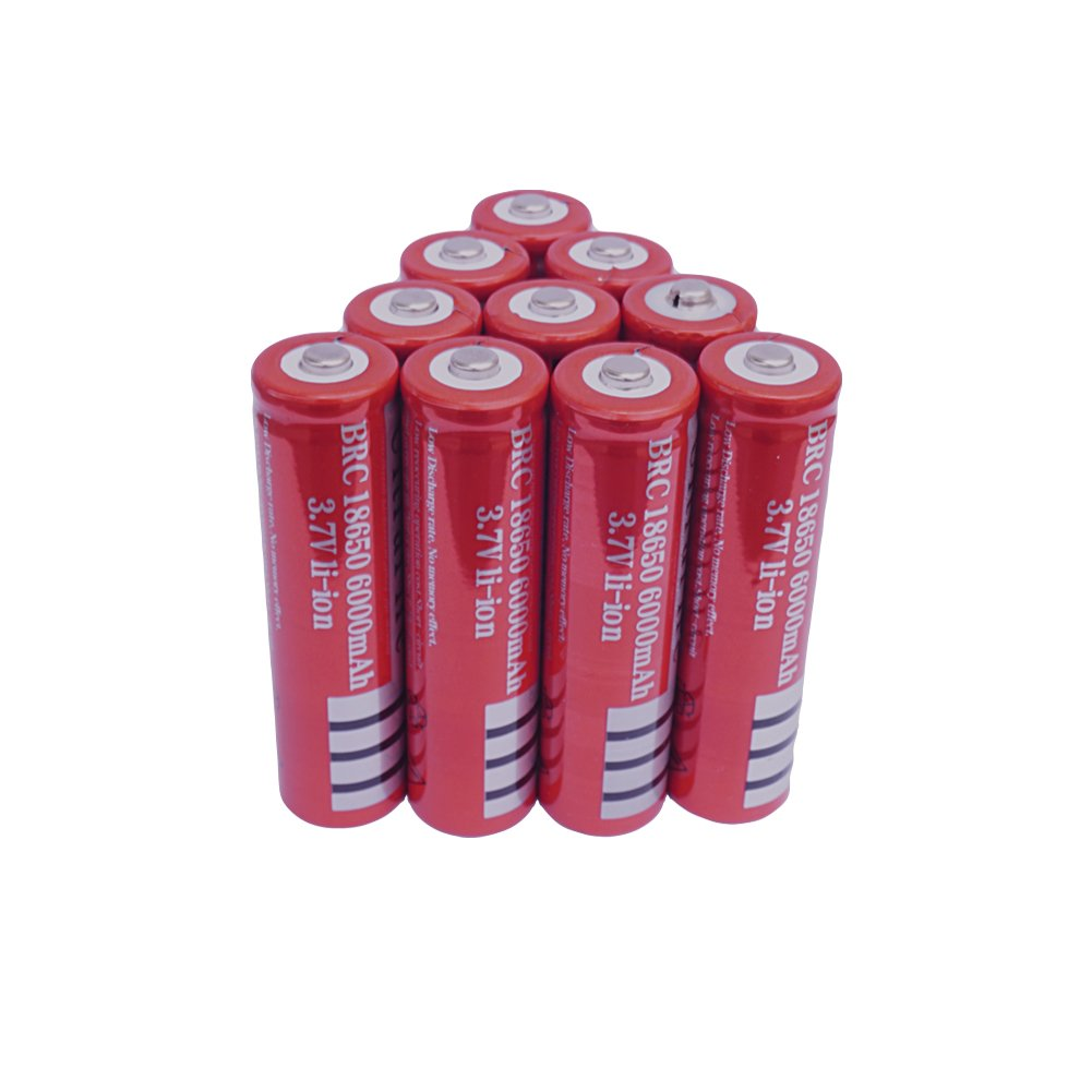 10 Pack 3.7v 18650 Li-ion Battery 10 PCS Rechargeable 6000mAh lithium Batteries Button Top for LED Flashlight