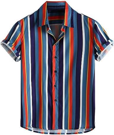 Camisa a Rayas para Hombre Camisas Casual para Hombre Camisa Suelta Transpirable para Hombre Camisa de la Solapa de la Moda de los Hombres Blusa Hombre Verano 2019 Camisetas Hombre: Amazon.es: Ropa