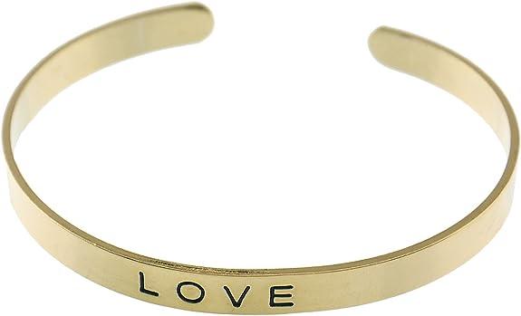 NEW GOLD LOVE HOPE DREAM BRACELET LADIES WOMENS CUFF CHARM FRIENDSHIP VINTAGE