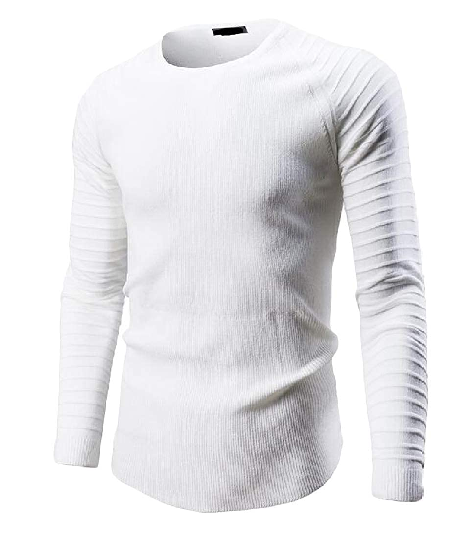 Macondoo Men Casual Crew Neck Pleated Knit Solid Color Pullover Sweaters