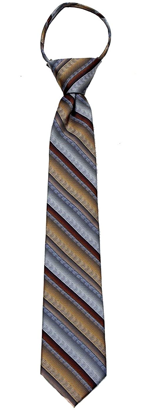 Boys 14 inch Pre Made Striped Fashion Designer Zipper Necktie Stripes