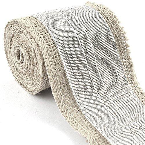 DealMux Burlap Belt Strap Crafting Organza Mesh Wrap Ribbon Roll Silver Tone for Wedding Rustic Decoration