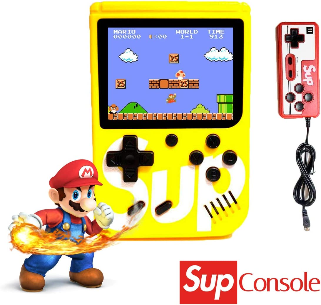 Amazon.es: JDD Sup Retro Mini Consola portátil para Juegos 400 Juegos 2 Jugadores Soporte para conectar TV, Amarillo, 6.6 x 6.3 x 1.5 Inches