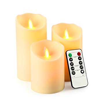 lederTEK Lot de 3 Bougies LED à Piles avec Flamme Vacillante ...