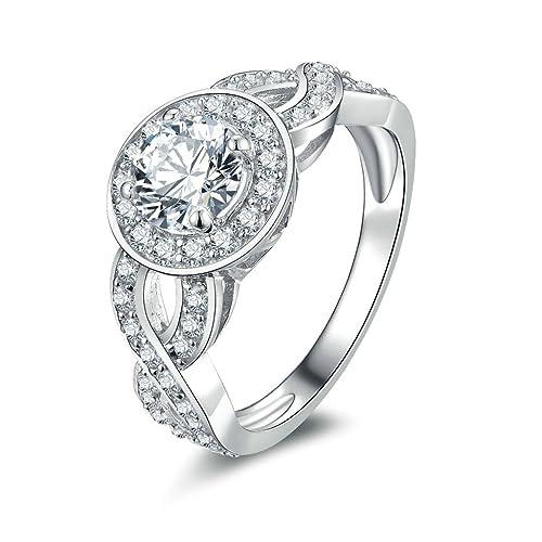 Daesar Joyería Anillos de Compromiso de Plata S925 Mujer, Alianzas Boda Sello Infinito con Diamantes