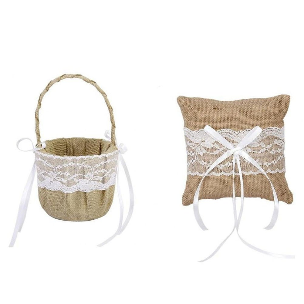 LEORX Vintage Retro Burlap Jute Lace Flower Basket Ring Bearer Pillow Set