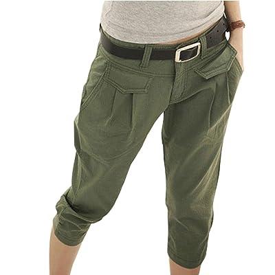 3/4 Shorts para Mujeres - Pantalones Harem Capri recortados Cinturón Gratuito Pantalones elásticos Bolsillos Pantalones Cortos de Oficina de Verano Talla Extra - Yying: Ropa y accesorios