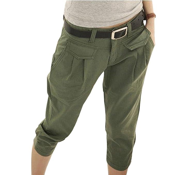 Yying Pantaloncini chino da Donna - 3 4Harem Short sciolto Bermuda Pantaloni  corti Tinta unita 0c4e2de331a9