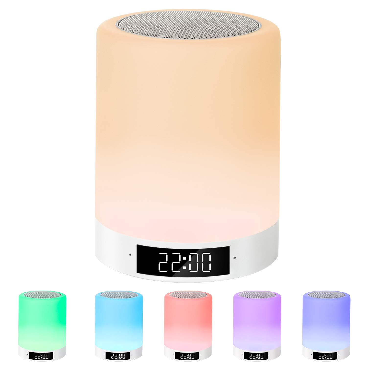Night Light Bluetooth Speaker, Macrimo LED Night Lamp Touch Sensor Table Lamp Dimmable Warm White Light & 7 Color 3 brightnesses Changing with Alarm Clock/FM/TF Card Mode Gift for Women Teens Kids by Macrimo
