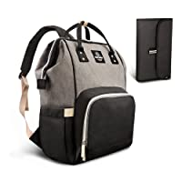 Pipi bear Nappy Changing Bag, Multi-Functional Waterproof Travel Diaper Bag Backpack with Changing Pad (Grey-Black)