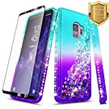 Galaxy S9 Case w/[Full Cover Screen Protector HD], NageBee Glitter Quicksand Liquid Floating Shiny Sparkle Flowing Bling Diamond Luxury Girly Clear Cute Cover Case For Samsung Galaxy S9 -Aqua/Purple
