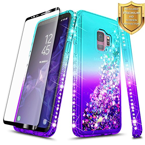 Galaxy S9 Case w/[Full Cover Screen Protector HD], NageBee Glitter Quicksand Liquid Floating Shiny Sparkle Flowing Bling Diamond Luxury Girly Clear Cute Cover Case For Samsung Galaxy S9 -Aqua/Purple by NageBee