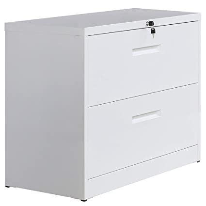 Amazon Com P Purlove Lateral File Cabinet Lockable Heavy Duty Metal File Cabinet 2 Drawer Lateral White Office Products