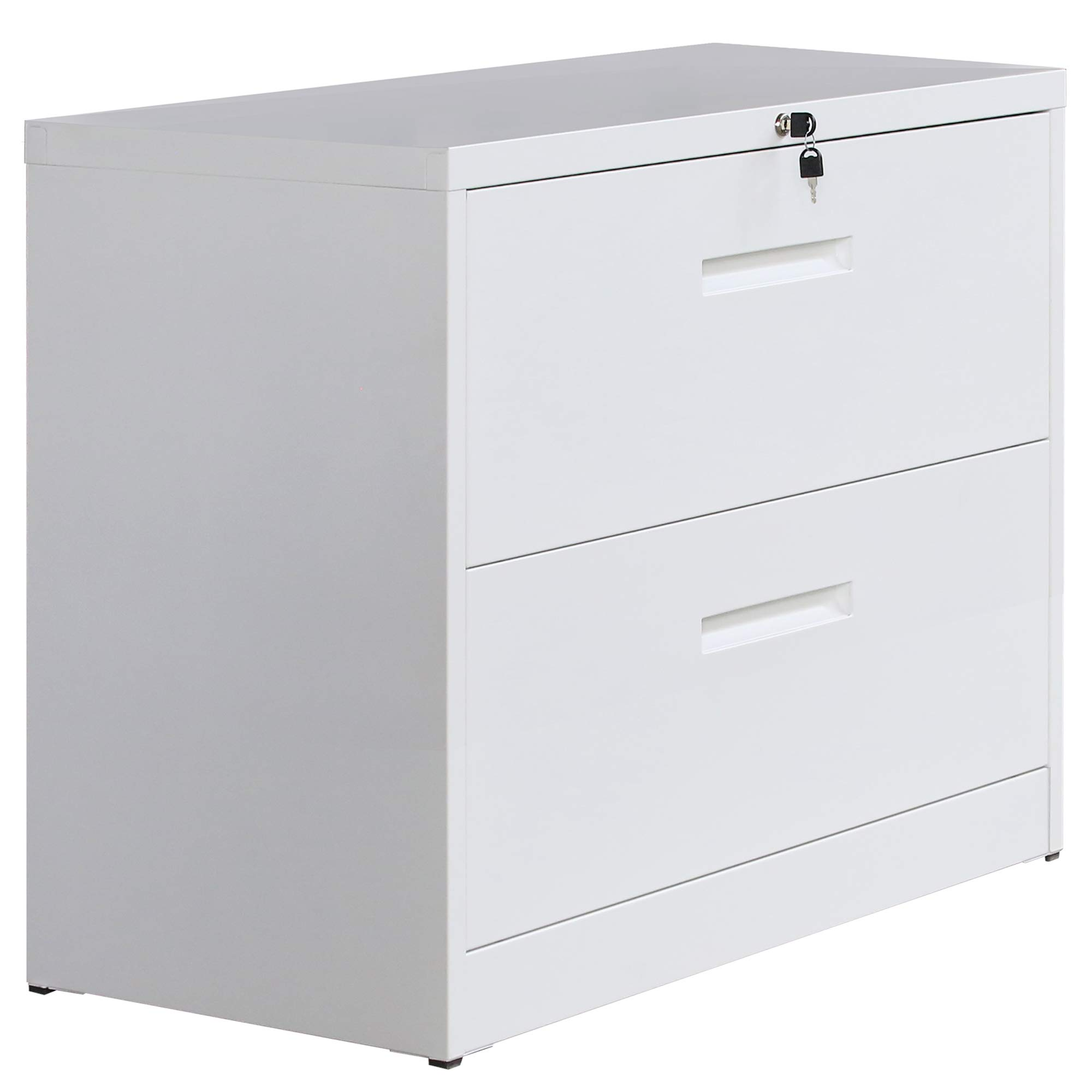 P PURLOVE Lateral File Cabinet Lockable Heavy Duty Metal File Cabinet 2 Drawer Lateral (White)