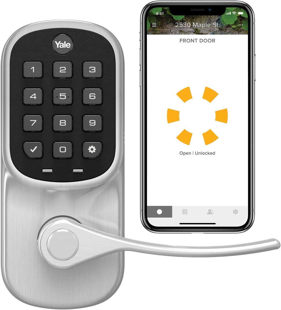 Yale Assure Lever, Wi-Fi Smart Lever - Works with the Yale Access App, Amazon Alexa, Google Assistant, HomeKit, Phillips Hue and Samsung SmartThings, Satin Nickel