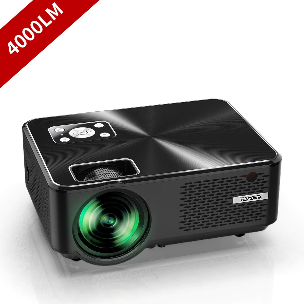 "YABER Portable Projector with 4000 Lumen Full HD 1080P 200"" Display Supported, LCD LED Home & Outdoor Projector Compatible with Fire TV Stick, Smartphone, HDMI,VGA,AV and USB"