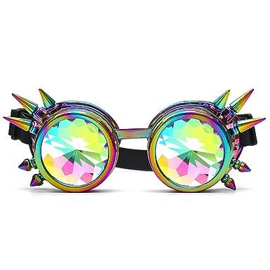 Manadlian Lunettes de Kaléidoscope Femme, Kaleidoscope Lunettes colorées Rave Festival Party Lunettes de soleil EDM Lentille diffusée (Or)