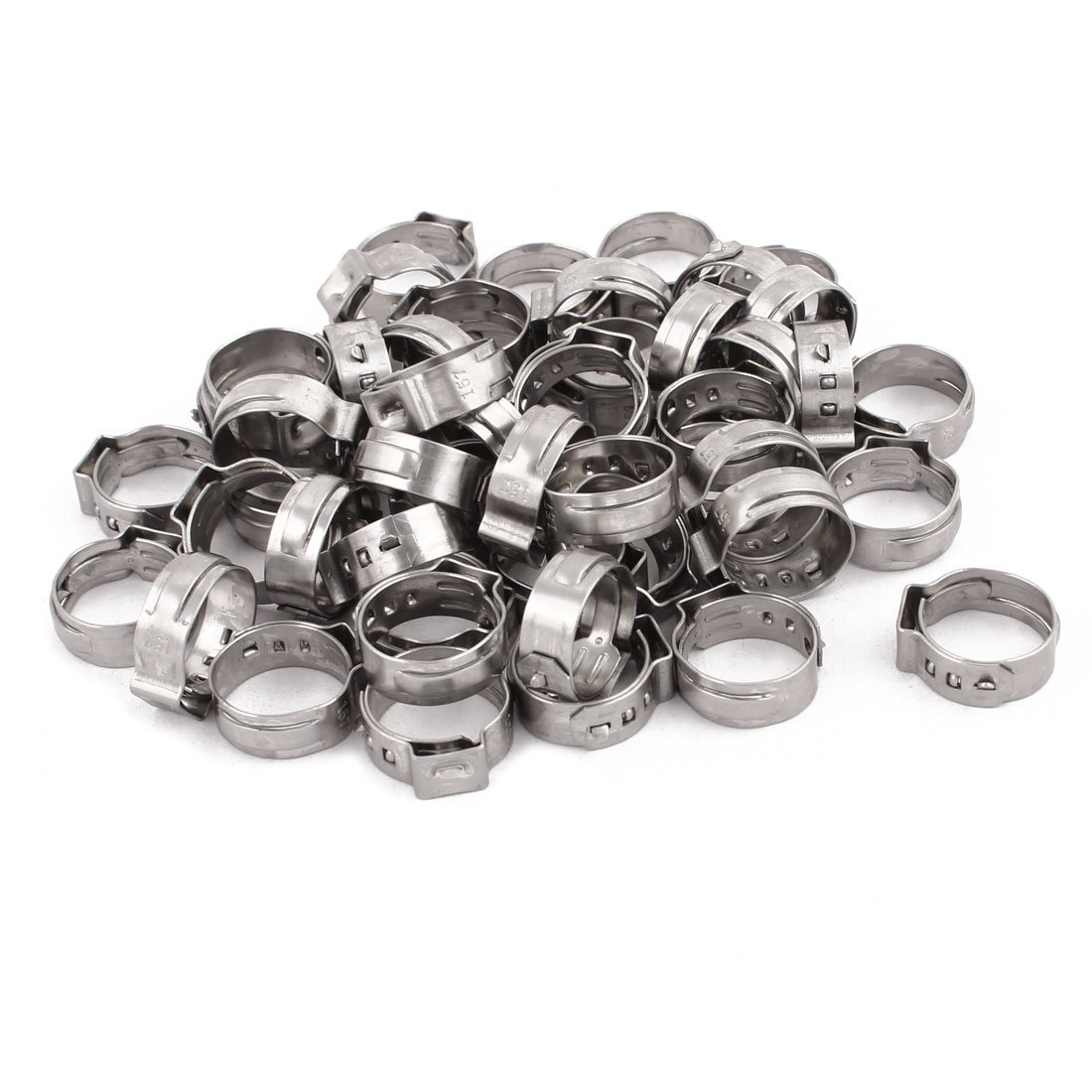 uxcell 13.2mm-15.7mm 304 Stainless Steel Adjustable Tube Hose Clamps Silver Tone 50pcs