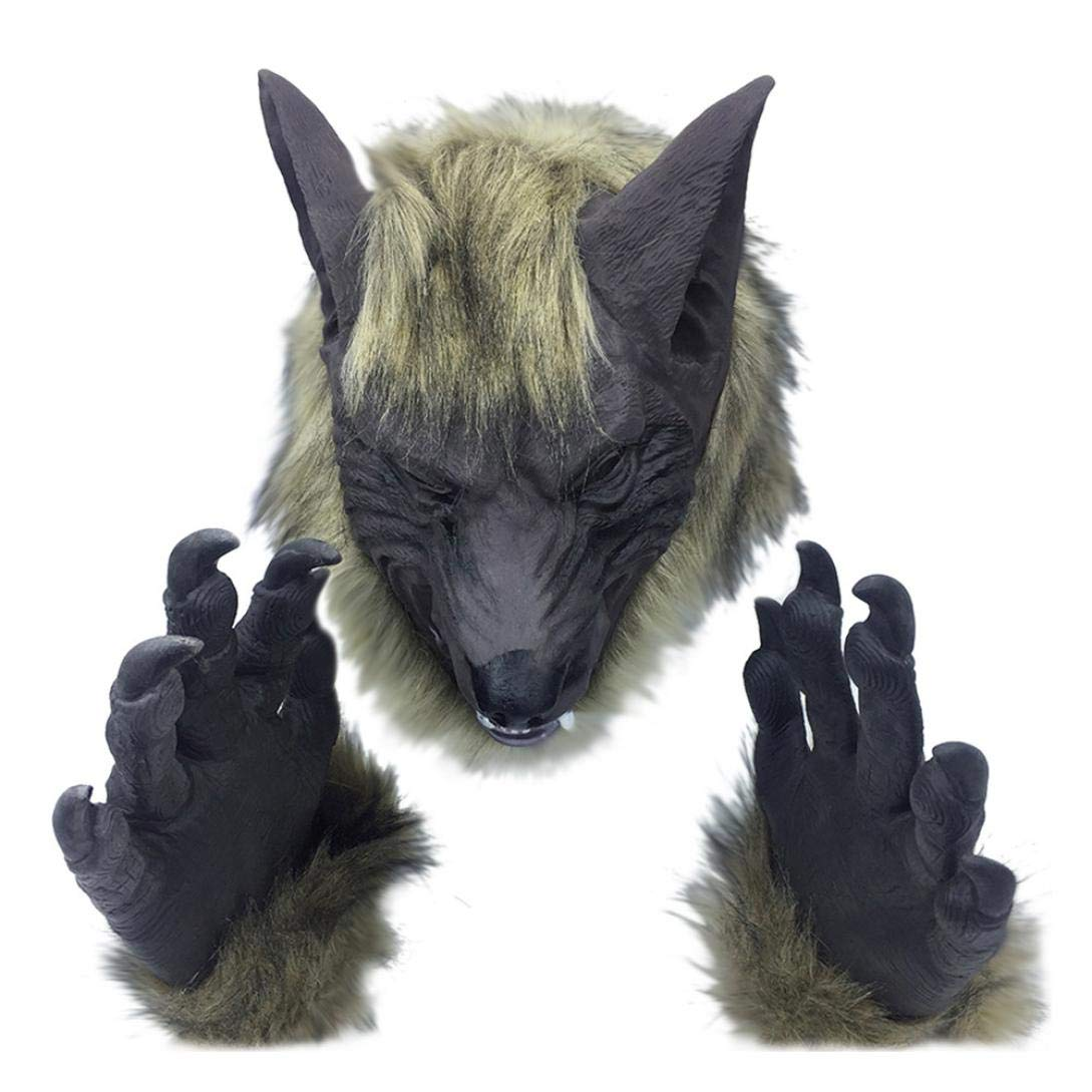 succeedtop Halloween Horror Animal Head Simulation Mask Headgear The Party Toy Gift(Brown Wolf/Grey Wolf/Black Wolfs/Lion/Tiger/Grey Wolf Gloves/Animal Gloves) (F)