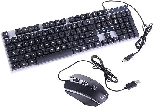 holilest Equipo de Teclado y Mouse con luz de Carga USB Rainbow ...