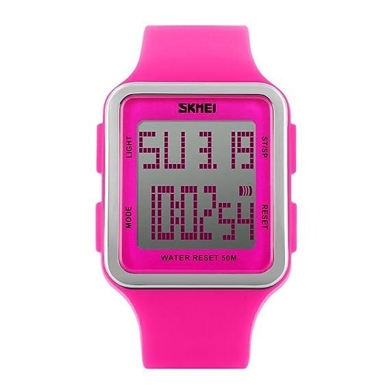 Reloj digital deportivo para mujer (cuadrado, resistente al agua y multifuncional, correa de