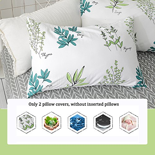 FenDie Pillow Cases Set of 2 - Plant Branches Pattern Standa