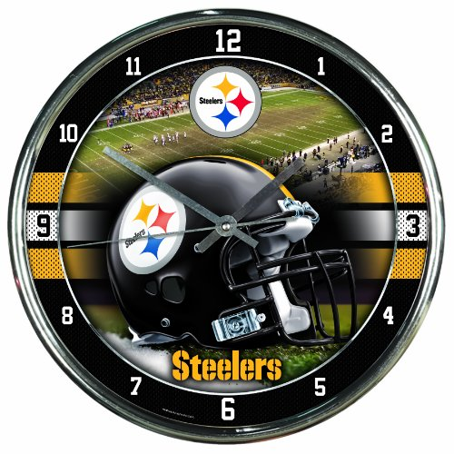Nfl Football Team Chrome Wall Clock , Pittsburgh Steelers , - In Malls Pittsburgh