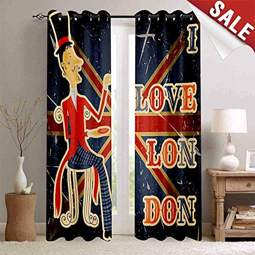 Privacy Room Divider Curtain, British, I Love London Quote English Man Drinking Tea on UK Flag Backdrop National Design, Multicolor, W96 xL84, Grommet Top Insulated Door Blind -