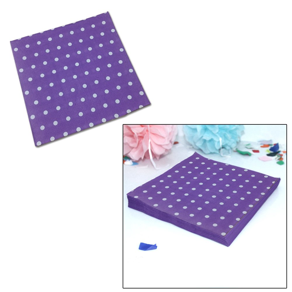 By Premium Disposables 6.5 X 6.5 Premium Luncheon Napkins Weddings 20 Count Reunions And Much More Perfect For Parties Birthdays Purple and White Polka Dot Party Napkins Perfect For Parties 6.5 X 6.5 Premium Luncheon Napkins